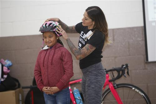 Video+Story: Cooley Students Receive Lesson in Bike Safety, New Helmets