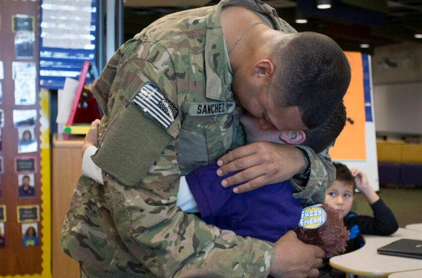 Purple Heart Elementary student surprised by deployed dad's homecoming
