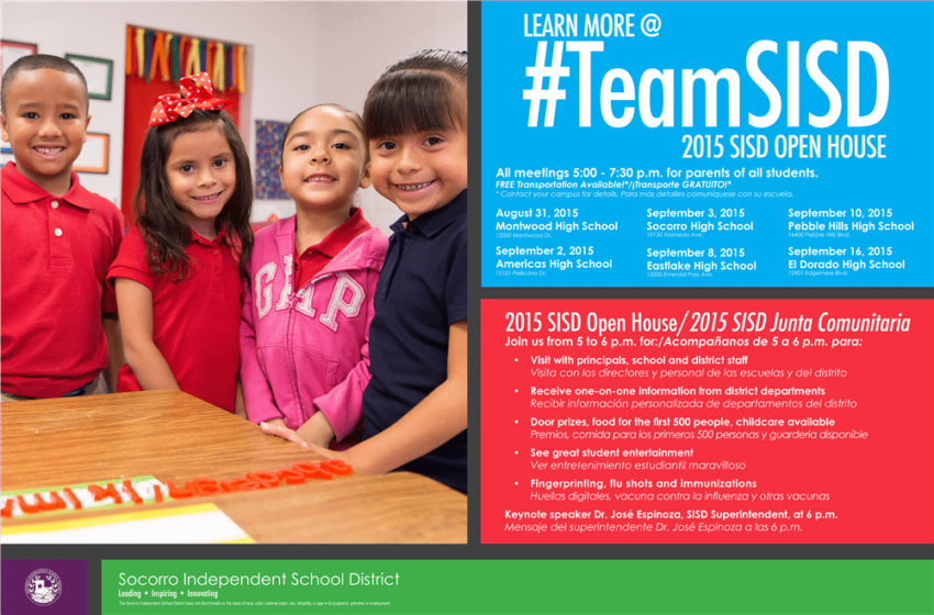 Socorro ISD invites parents, community to 2015 Open House events