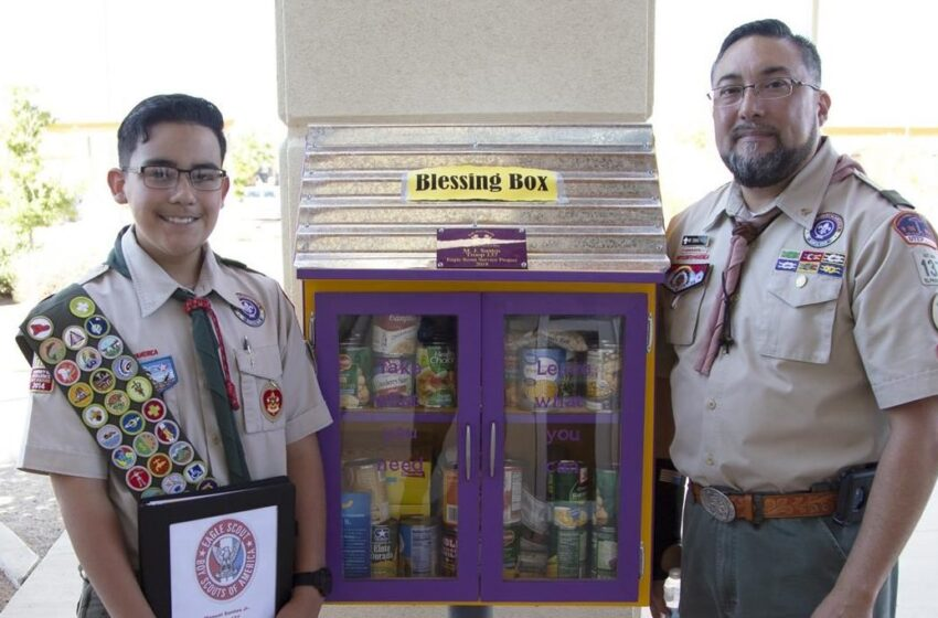 SISD Student Builds Pantry to Aid Hungry Families in Purple Heart Community