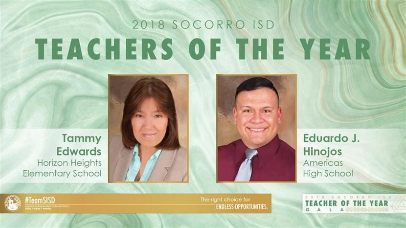Socorro ISD Names Top Secondary, Elementary Teacher of the Year