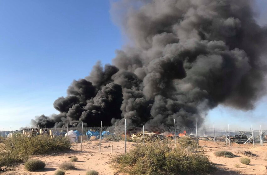 Massive Fire Northeast of Horizon Scorches Lot Filled with Pallets, Bins, Plastics