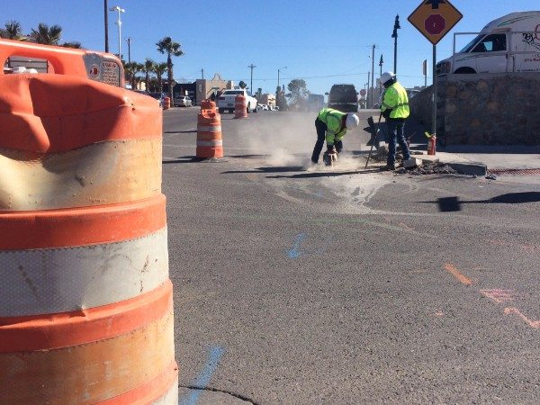 Crews work at six locations relocating utilities for El Paso Streetcar Project