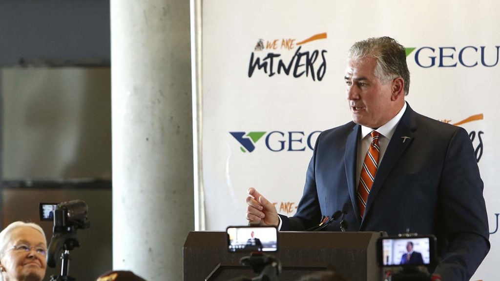 "FILE PHOTO – UTEP AD Jim Senter said. ""We feel for all of our employees that are impacted by these decisions, which are difficult and unfortunate but ultimately necessary during these turbulent times…"""