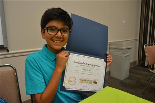 Wiggs Middle School Student Represents EPISD in National Spanish Spelling Bee