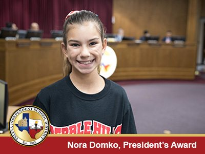 YISD Board of Trustees Honors Student with President's Award