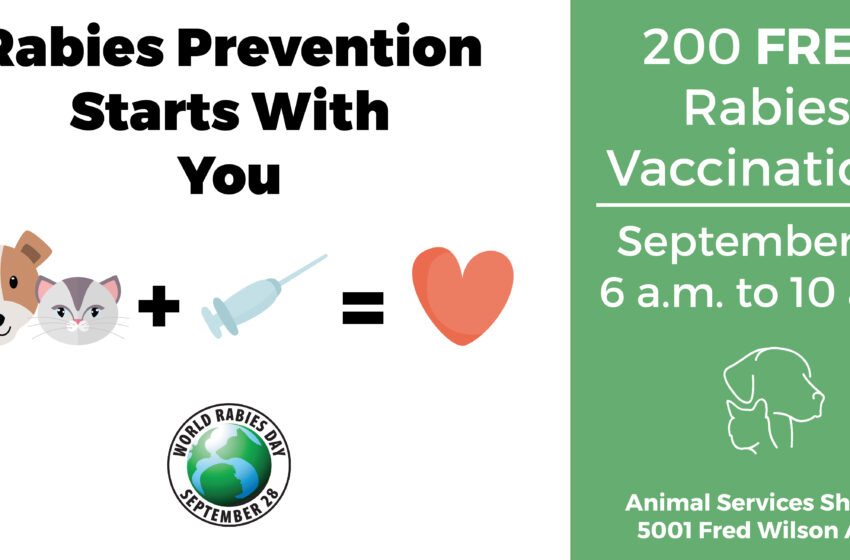 Animal Services Shelter Offers free Rabies Vaccinations in Honor of World Rabies Day