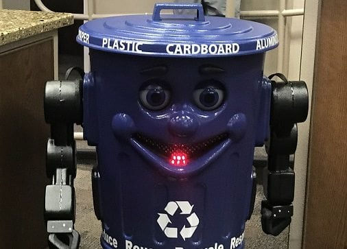 """Environmental Services Department Introduces New Mascot: """"Bleu"""" The Recycling Robot"""