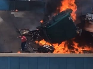Video: Fiery Tractor Trailer Wreck on I-10 in Downtown El Paso Closes Freeway