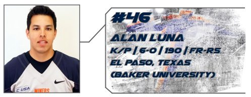 UTEP Football's Luna Named as Ray Guy Award Candidate