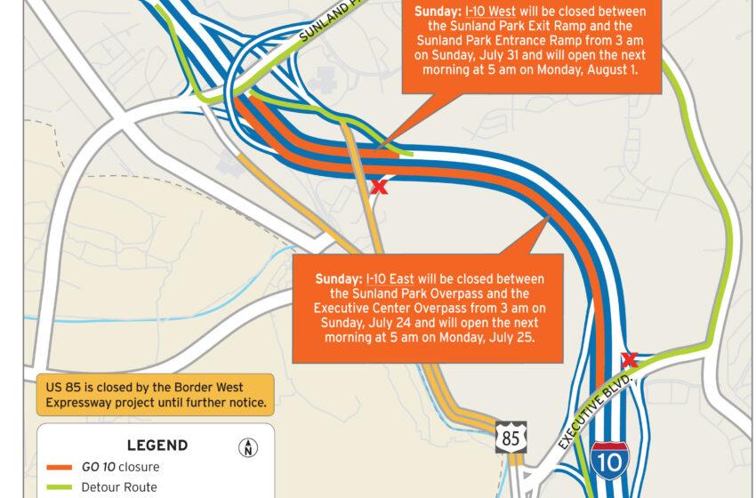 Complete Closure of I-10 in West El Paso tops Weekend Road Work