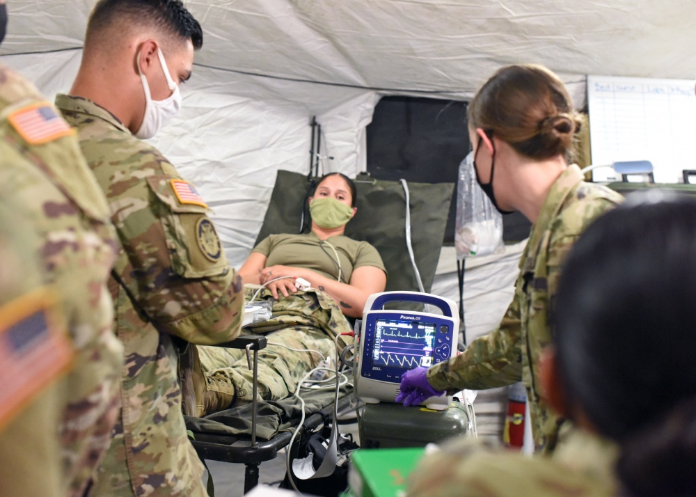Soldiers assigned to the 131st Field Hospital looked at different heart rates and made recommendations during a training scenario, which was part of Operation Noble Focus, a field hospital exercise conducted at Fort Bliss, Texas, Aug. 18-28, 2020 | Photo by Michelle Gordon – Fort Bliss Public Affairs Office
