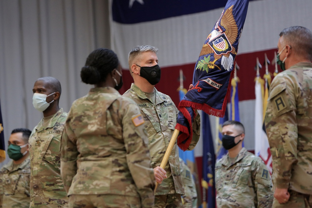 "Lt. Col. Brian Wojtasiak, Commander of ""Viper 9"" and the CONUS Replacement Center, receives the Colors during a Transfer of Authority ceremony at Fort Bliss, Texas, September 11, 2020. The 85th U.S. Army Reserve Support Command's 1st Battalion, 338 Regiment, assumed the CRC mission, supporting as 5th Armored Brigade's ""Viper 9"", the ninth rotation serving in this mission. The 94th Training Division's 8th Battalion, 108th Regiment bid farewell during the ceremony as ""Viper 8"" to close out their rotation. 