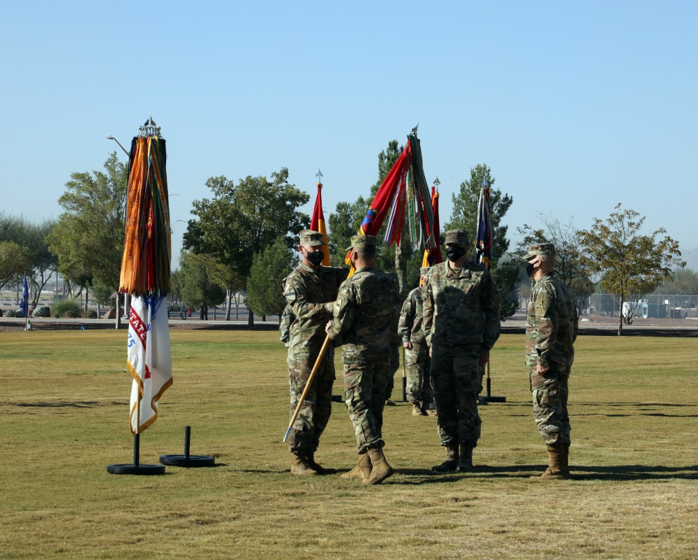 III Corps and Fort Hood Commanding General, Lt. Gen. Robert P. White, Division Command Sergeant Major Michael C. Williams, outgoing 1st Armored Division Commanding General, Brig. Gen. Matthew L. Eichburg, and incoming Commanding General, Brig Gen. Sean C. Bernabe partake in the Passing of the Colors during a Change of Command ceremony held on Sept. 30 at Iron Soldier Field. | U.S. Army photo by Jean S. Han
