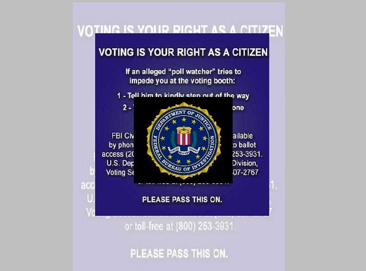 "FBI El Paso warns of attempt to spread election disinformation regarding ""Poll Watchers"""