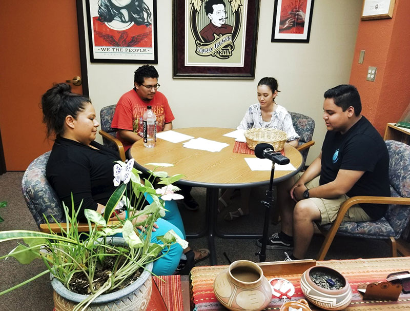 Larisa Veloz, Ph.D., assistant professor of History at The University of Texas at El Paso, from left, is interviewed by UTEP students Solomon Contreras, Siera Tanabe and Jonathan Hinojos in fall 2019 as part of an Institute of Oral History podcast. Photo courtesy UTEP