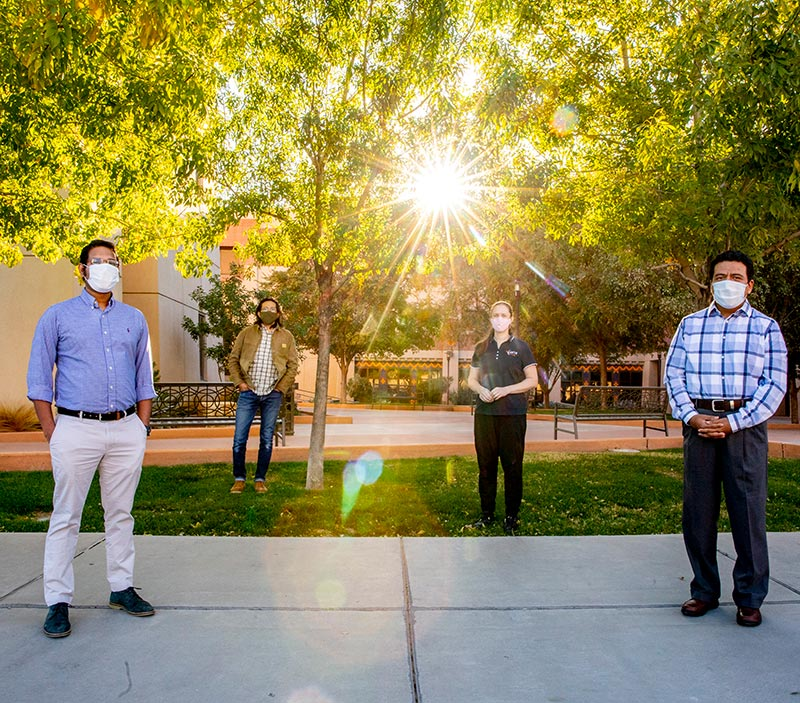 Faculty members, from left, Md Mahamudur Rahman, Ph.D.; Joel Quintana, Ph.D.; Amelia Greig, Ph.D.; and Angel Flores-Abad, Ph.D., are dedicated to stewarding the student-centered mission of The University of Texas at El Paso's Center for Space Exploration and Technology Research into the future by leveraging their high-level expertise to serve UTEP students through mentoring and training. | Photo: Ivan Pierre Aguirre / UTEP Communications