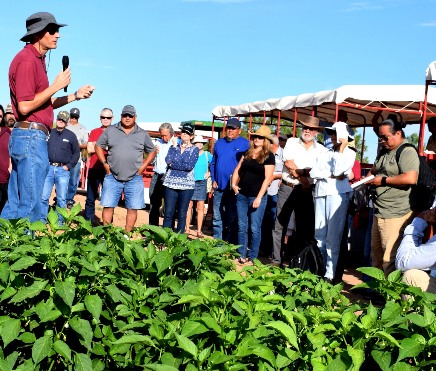 During a 2019 field day, Brian Schutte, New Mexico State University associate professor in weed science, talks to visitors about research he is conducting at NMSU's Agricultural Science Center at Los Lunas. With 12 agricultural science centers across New Mexico, NMSU is able to conduct relevant research for the state's diverse environmental conditions. | NMSU photo by Jane Moorman