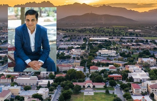 Jagdish Khubchandani, public health sciences professor at New Mexico State University, authored a study showing hesitancy toward the COVID-19 vaccine is much more prevalent among Hispanic and Black adults in the United States. |   Inset  photo by Josh Bachman/NMSU