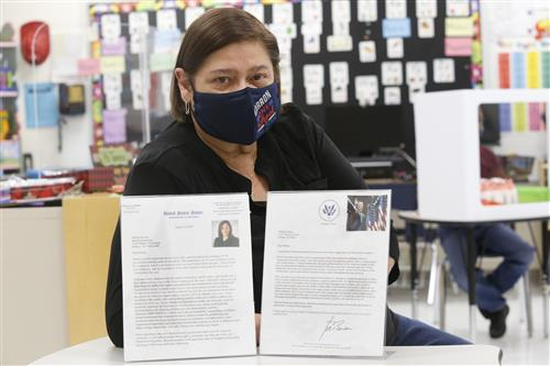 Barron Elementary teacher receives letters from President Biden, Vice President Harris