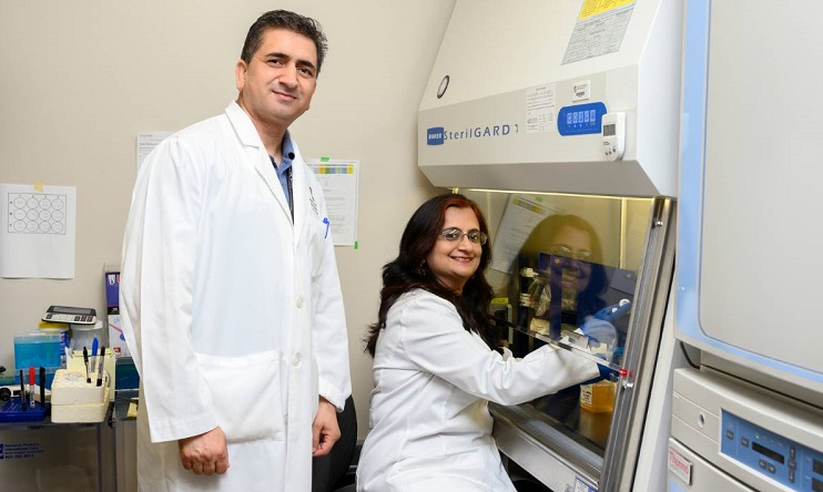 Munmun Chattopadhyay, Ph.D., (seated) a researcher in the Center of Emphasis in Diabetes and Metabolism, is bioengineering cardiac tissue in collaboration with the University of Texas at El Paso.  | File photo taken before Pandemic/Courtesy TTUHSC El Paso