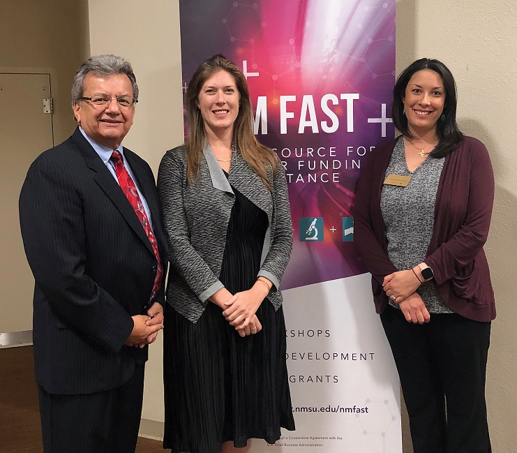 The U.S. Small Business Administration has recognized the New Mexico Federal and State Technology Partnership Program, housed at New Mexico State University's Arrowhead Center, with the 2020 Tibbetts Award. From left, John Garcia, district director of SBA's New Mexico District Office; Brittany Sickler, senior innovation policy adviser for the SBA Office of Innovation and Technology; and Dana Catron, director of Strategic Operations and SBIR program director for Arrowhead Center at NMSU, participated in a 2019 SBA event. | Photo courtesy NMSU