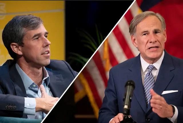 Former U.S. Rep. Beto O'Rourke, left, is considering a 2022 run against Gov. Greg Abbott. Credit: The Texas Tribune