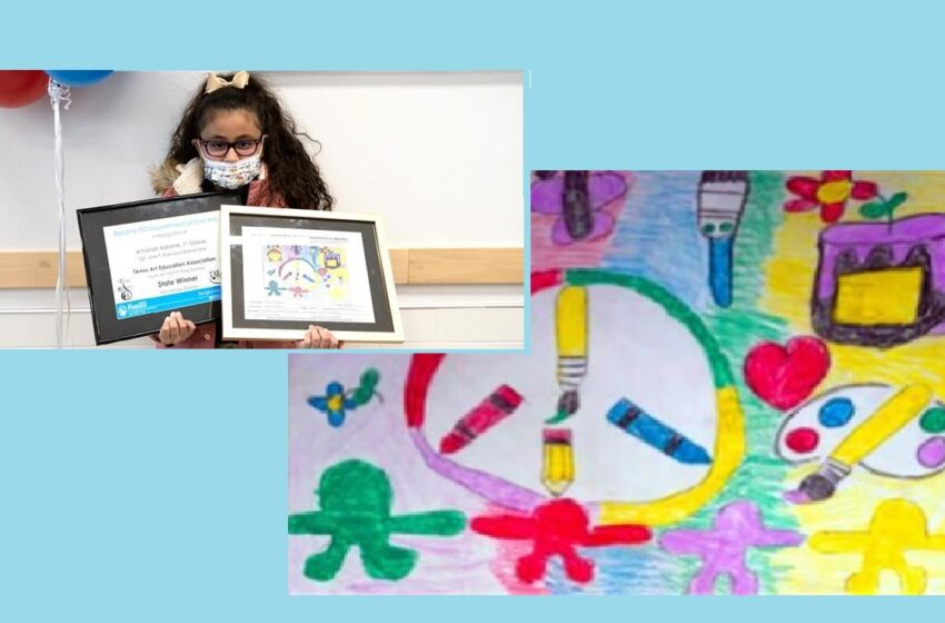 Carrasco Elementary first grader wins top state prize in Youth Art Month flag design contest