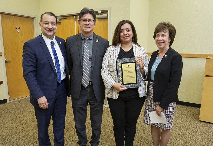 Pictured from left to right from January 2020 are Dr. William Serrata, President, Fernando Flores, Associate Vice President of Budget and Financial Services, Ana Zúñiga, Comptroller, and Josette Shaughnessy, Vice President of Financial and Administrative  |  Photo courtesy EPCC