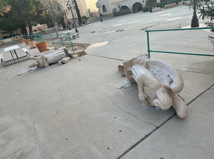 Vandals topple 3 angel statues at St. Pius X
