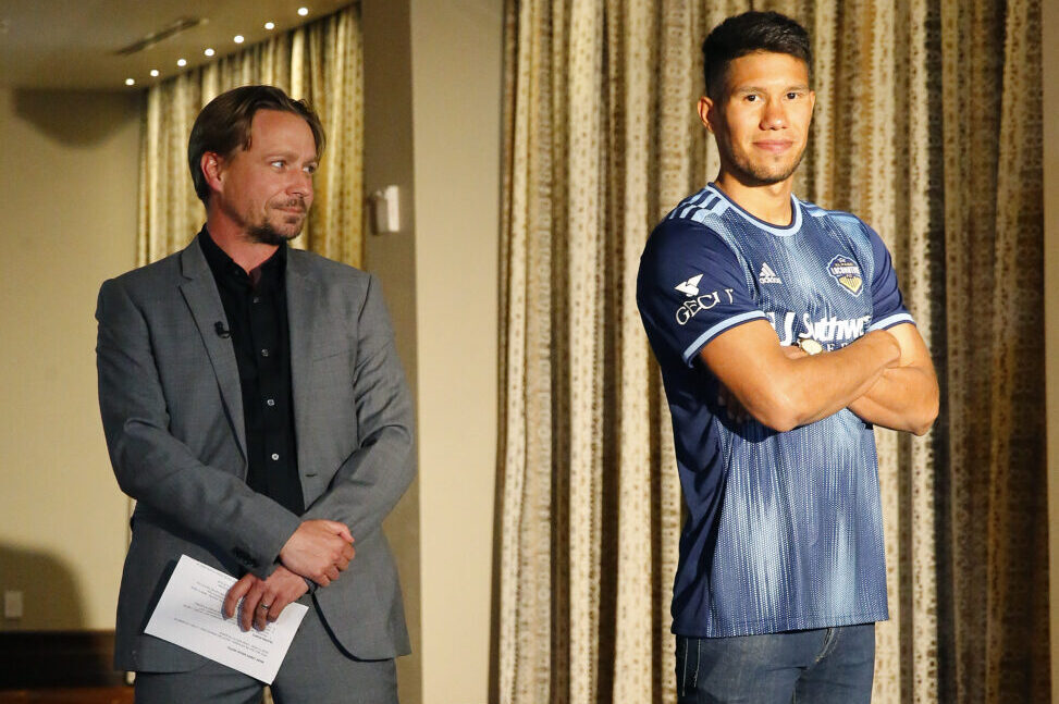 Locomotive head coach Mark Lowry (lf) with Bryam Rebellón (rt) unveil the new kit for the Locomotive  | Photo by Ruben R. Ramirez – El Paso Herald Post