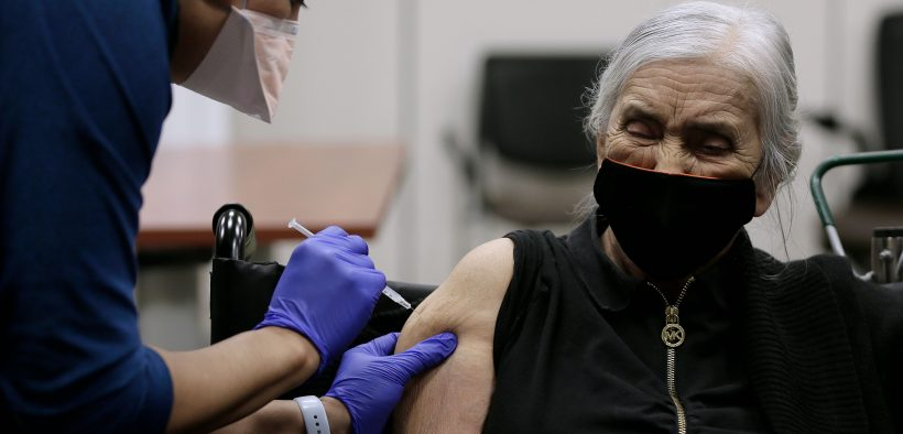 A woman who lives in rural Northwest El Paso County receives a COVID-19 vaccine at The Hospitals of Providence Transmountain Campus.  |   Photo courtesy of The Hospitals of Providence