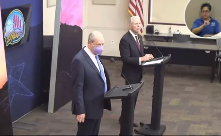 Mayor Leeser (Lf) and County Judge Samaniego (Rt) during Wednesday's news conference.  | Clip courtesy EP County