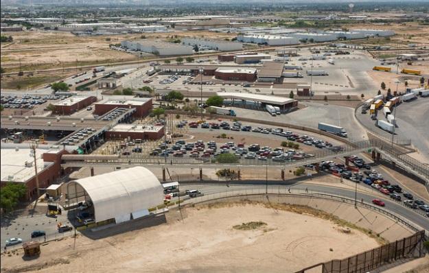 An aerial view of the Ysleta POE near El Paso Texas. Photo by James Tourtellotte  CPB