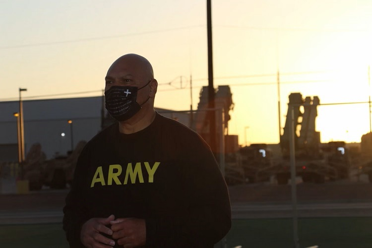 Chaplain (Maj.) Folauga Tupuola, assigned to 69th Air Defense Artillery Brigade, prepares to conduct the Army Combat Fitness Test during the 32d AAMDC's unit ministry team's training here at Fort Bliss.  |  Photo By Maj. Roxana Thompson