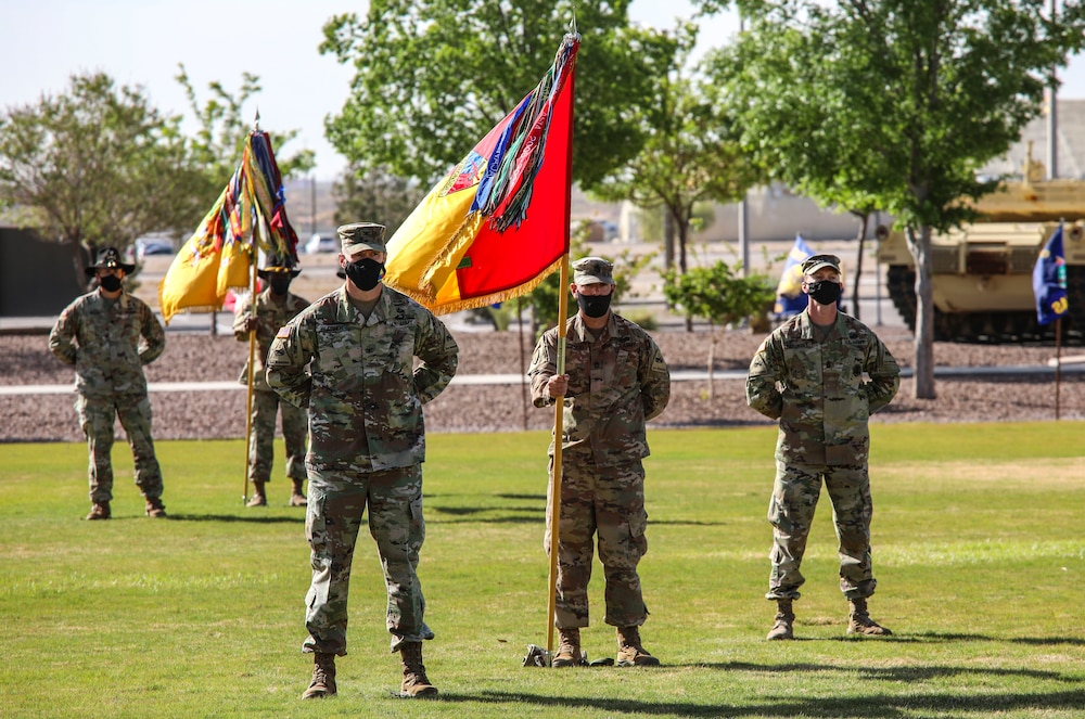 The 2nd Armored Brigade Combat Team, 'The Iron Brigade', 1st Armored Division uncased their unit colors during a ceremony on Iron Soldier Field April 22. The ceremony marked the end of their deployment in support of Operation Spartan Shield and reintegration back into the Fort Bliss community. |  U.S. Army Photo by: Staff Sgt. Michael West