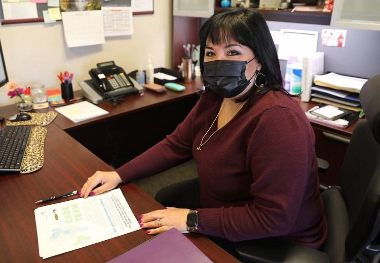 """Readiness is about being able to help the unit as a whole and empowering them with information,"" Deanna Garcia, Fort Bliss Mobilization and Deployment supervisor, in her office at Fort Bliss, Texas, April 9, 2021.  