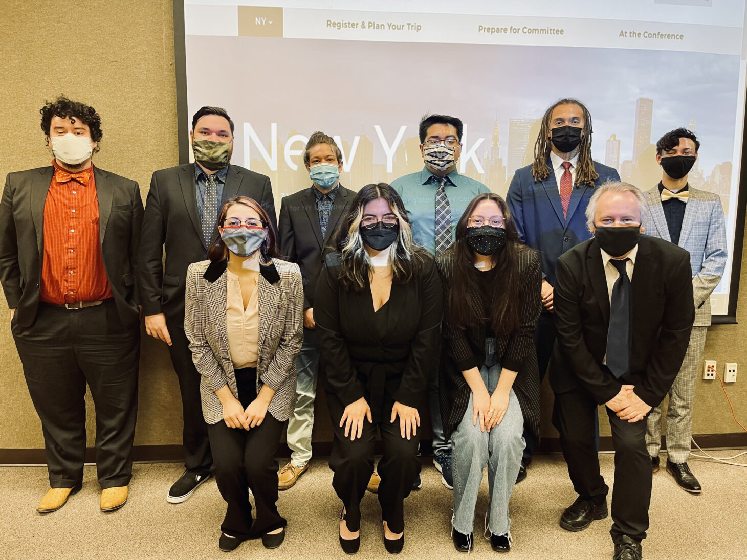 The NMSU Model United Nations Team members participated in the virtual 2021 national conference. Team members include (from left back row) Giovanni Cisneros, Omar Ortega, Jay Hernandez, James Madrid, Rakim Stokes and Cole Vetter. From left front row, Jasmine Recinos, Iliana Viscarra, Citlali Benitez, and Neil Harvey, Model U.N. faculty adviser