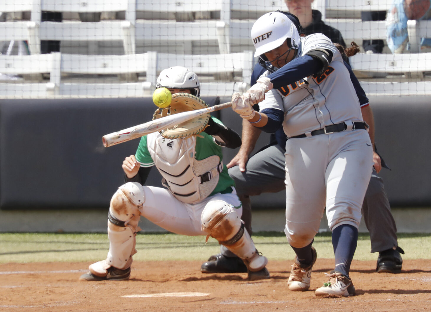 Junior utility Kasey Flores knocked in UTEP's only runs of the game with a two-run homer to center field for her sixth longball of the season  | Photo by Ruben R. Ramirez – El Paso Herald Post
