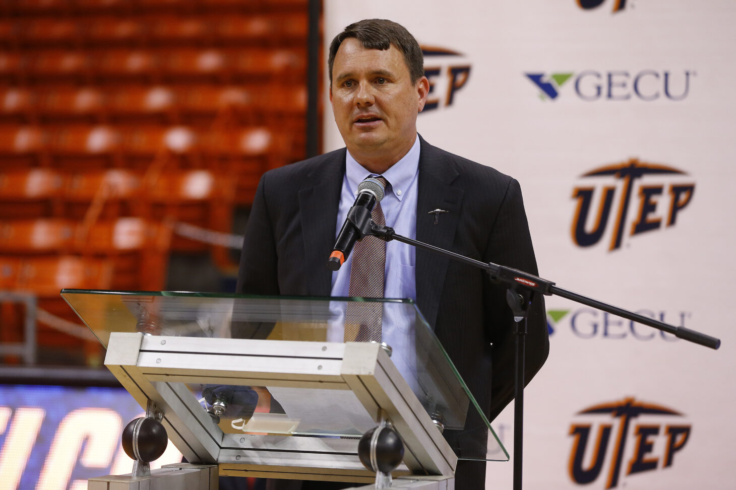 New Miner basketball head coach Joe Golding during Wednesday's introductory news conference  | Photo by Ruben R Ramirez