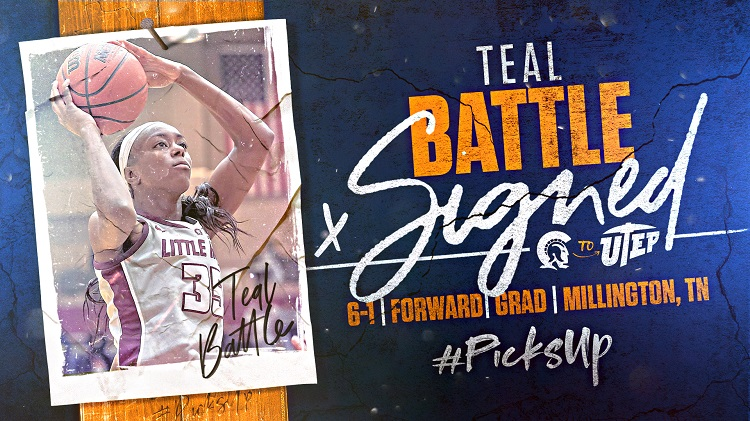 Battle helped guide UALR to the semifinals of the conference for the 13th time in 14 years, and started 30 of 31 games in 2019-20, averaging 13.6 points, 5.7 rebounds and 1.0 assists.  | Graphic courtesy UTEP