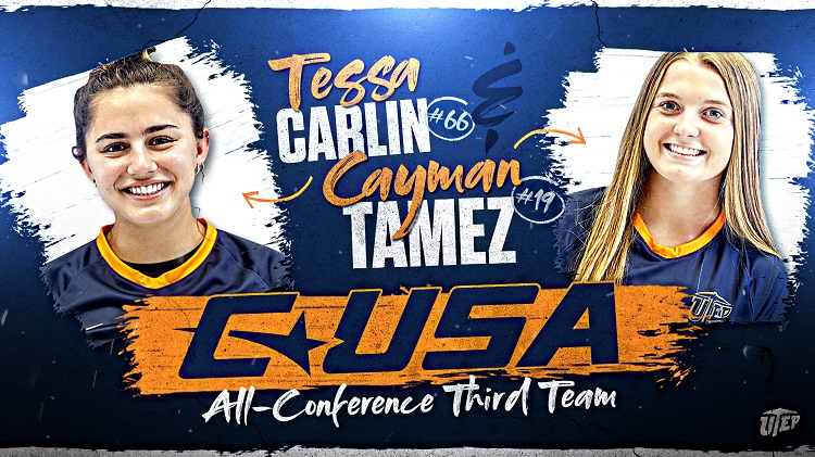 UTEP soccer's Tessa Carlin and Cayman Tamez | Graphic courtesy UTEP Athletics
