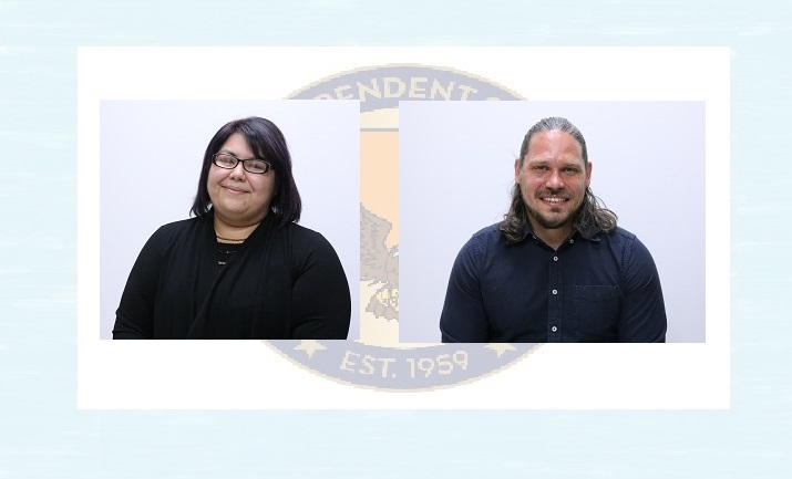 Bill Childress Elementary School (BCE) Teacher of the Year Sabina Lazos  and Canutillo High School (CHS) Teacher of the Year Christopher Kapuscik