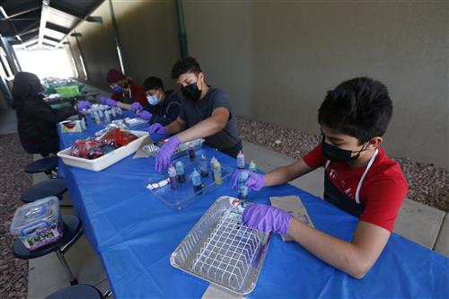 Gallery+Story: Richardson IB students tie dye face masks for community organizations
