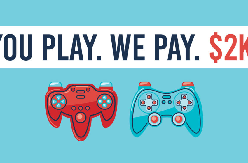 Company to pay $2k for two friends to play video games for 21 hours