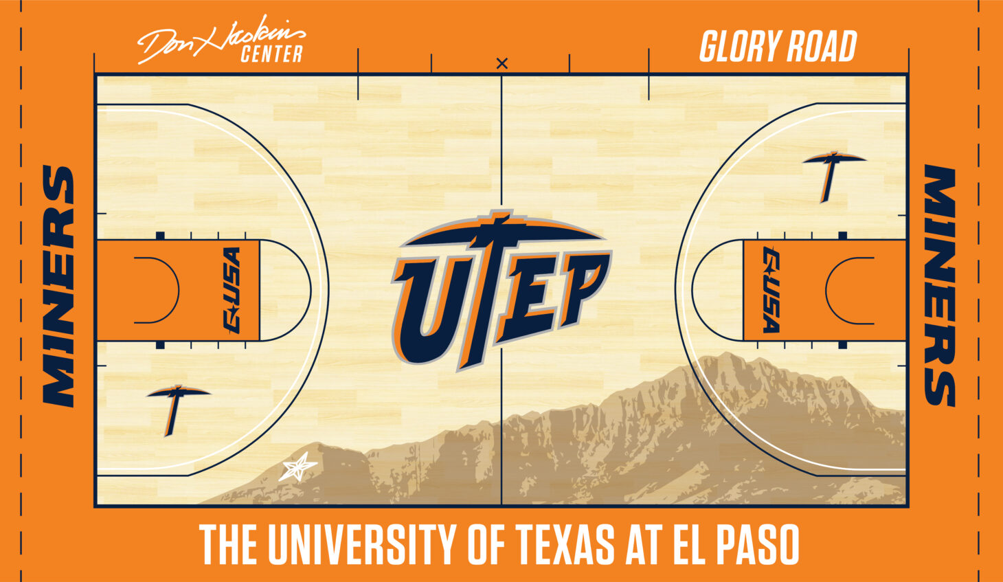 "The exciting new court design will incorporate the Franklin Mountains with El Paso's Star on the Mountain. Don Haskins's signature, the namesake of the building, will also be featured on the top left of the court, while ""Glory Road"" will be positioned on the top right – a reference to the 2006 film showcasing the story of the 1966 Texas Western NCAA National Championship team.  