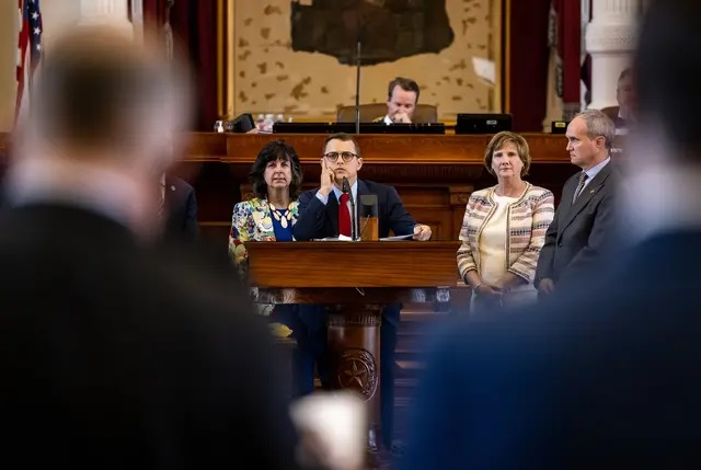State Rep. Briscoe Cain, R-Deer Park, flanked by his Republican colleagues, answered questions regarding Senate Bill 7 on May 6, 2021. Credit: Jordan Vonderhaar for The Texas Tribune