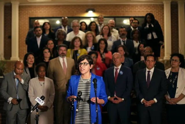 State Rep. Jessica González, D-Dallas, spoke at a press conference at Mt. Zion Baptist Church in East Austin after Democrats broke quorum in opposition to Senate Bill 7, a sweeping GOP voting bill. May 30, 2021. Credit: Miguel Gutierrez Jr./The Texas Tribune