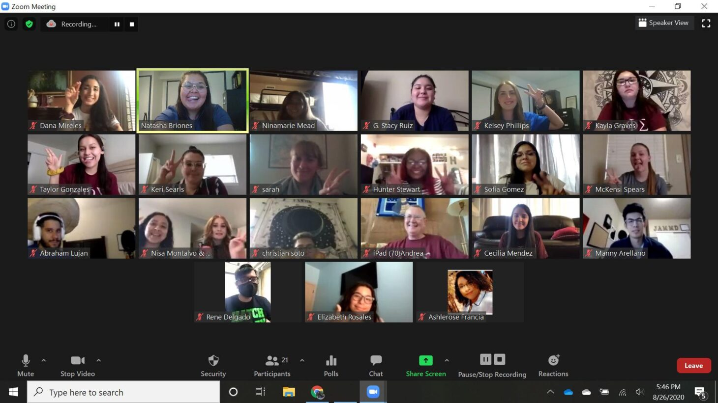 NMSU Alpha Phi Sigma chapter members host a meeting via Zoom.  | Photo courtesy NMSU