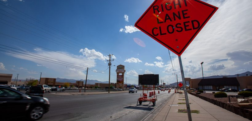 City crews are doing road improvement work on Montana between St. John and Huckleberry in Central El Paso. Street repair and maintenance is a large part of the city budget. |  Corrie Boudreaux/El Paso Matters